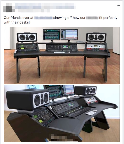 A facebook post showing a studio desk with speakers on it