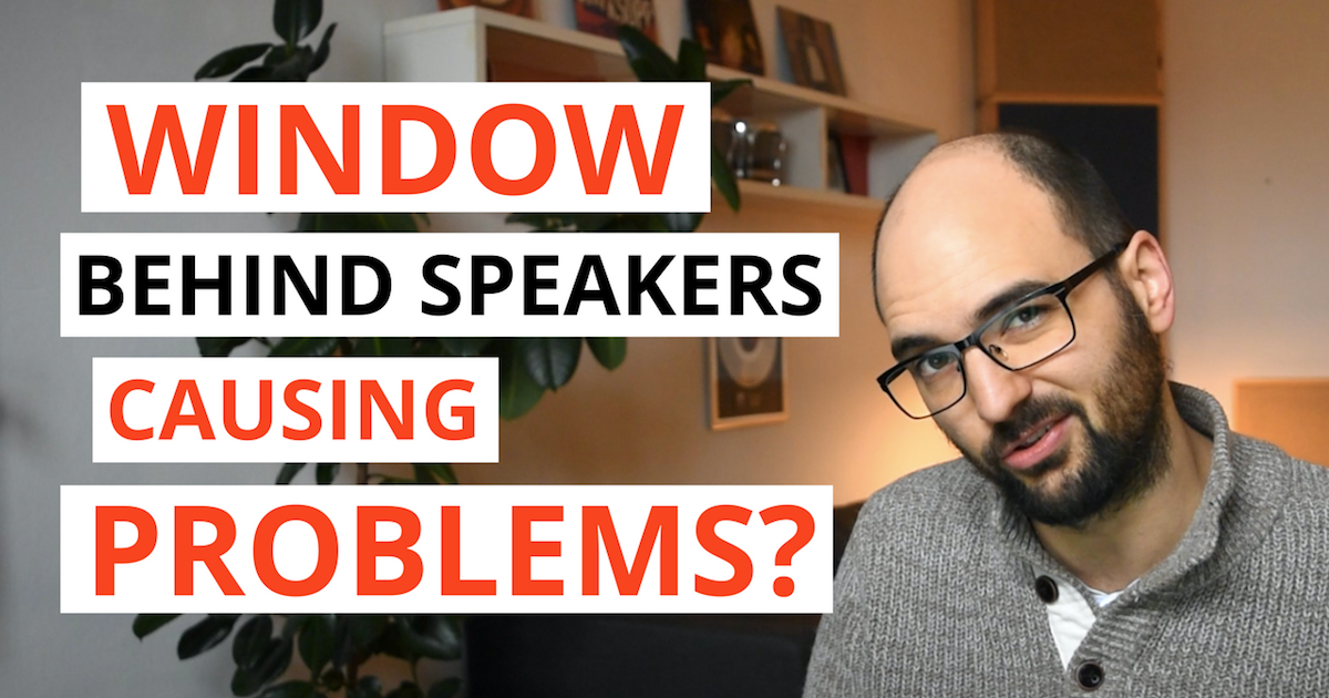 "cover image on acousticsinsider.com showing a person and text saying ""Window behind speakers causing problems?"""