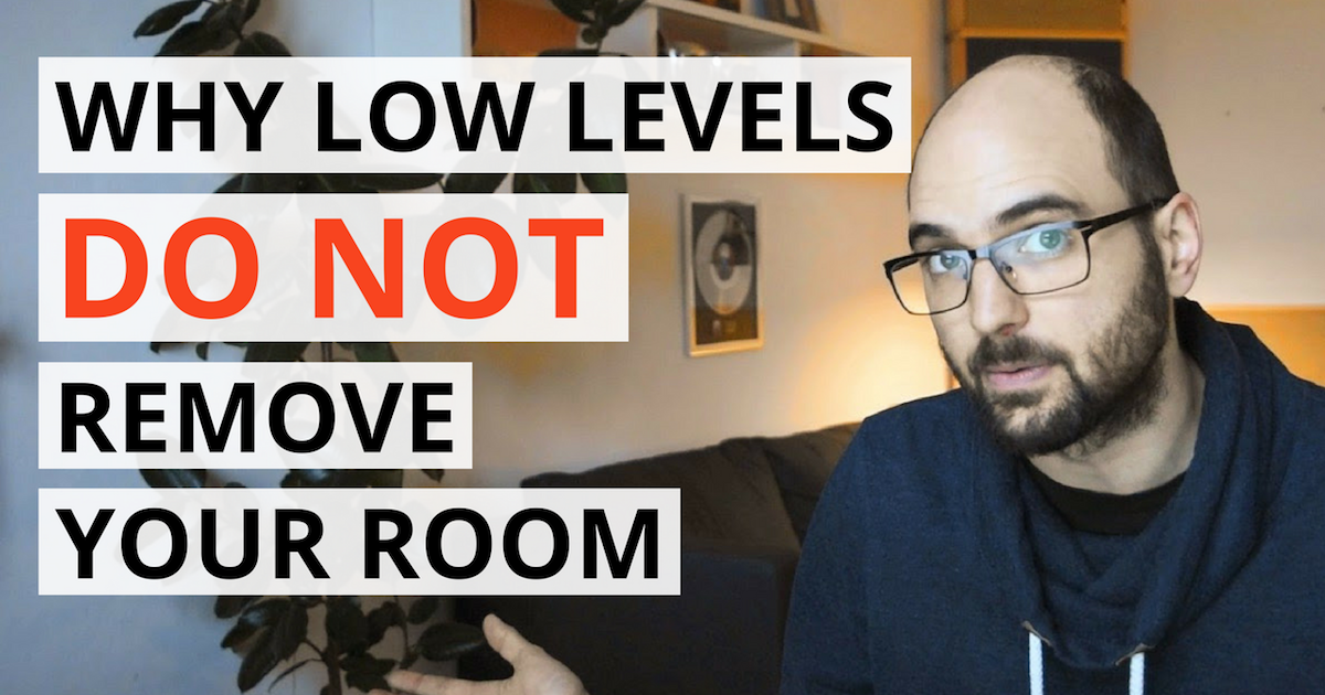 """acoustics insider cover image showing a person an some text saying """"why low levels do not remove your room""""."""