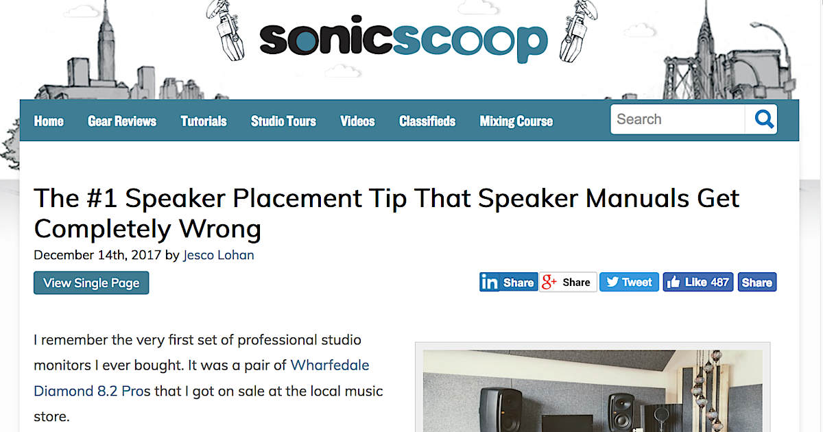 Screenshot of the AcousticsInsider feature post on sonicscoop